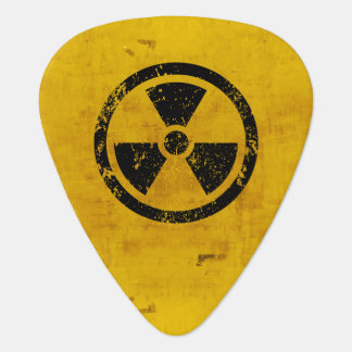 Two Sided Radiation Hazard Sign Guitar Pick