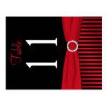 Two Sided Red and Black Striped Table Number Post Cards