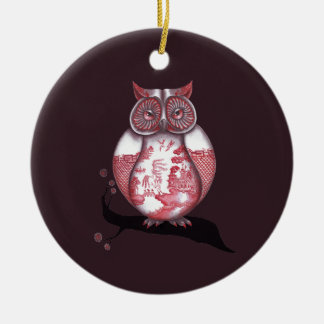 Two Sided Red Willow Owl Ornament