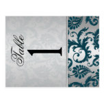 Two Sided Silver and Teal Damask II Table Number Post Cards
