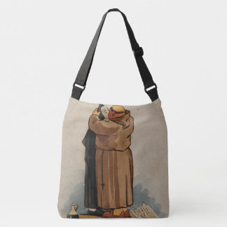 Two Sides, Monk Kissing Nun and Brown Cross Crossbody Bag