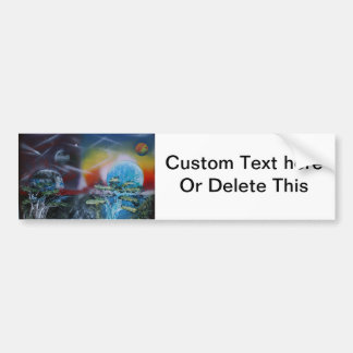 two sides planet scenes spacepainting car bumper sticker