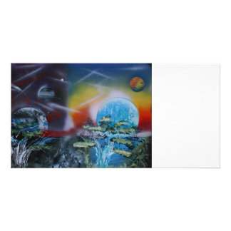 two sides planet scenes spacepainting photo card