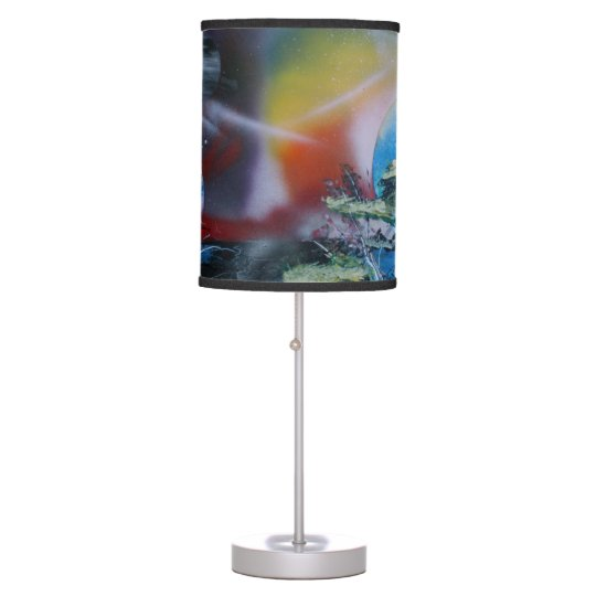 two sides planet scenes spacepainting table lamp