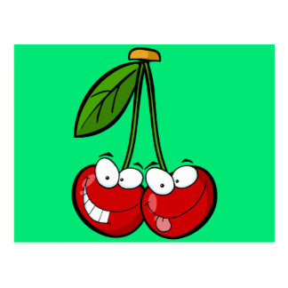 Two silly cherries postcard
