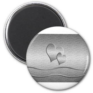 Two Silver Hearts 2 Inch Round Magnet