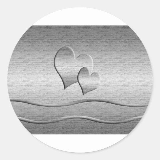 Two Silver Hearts Classic Round Sticker