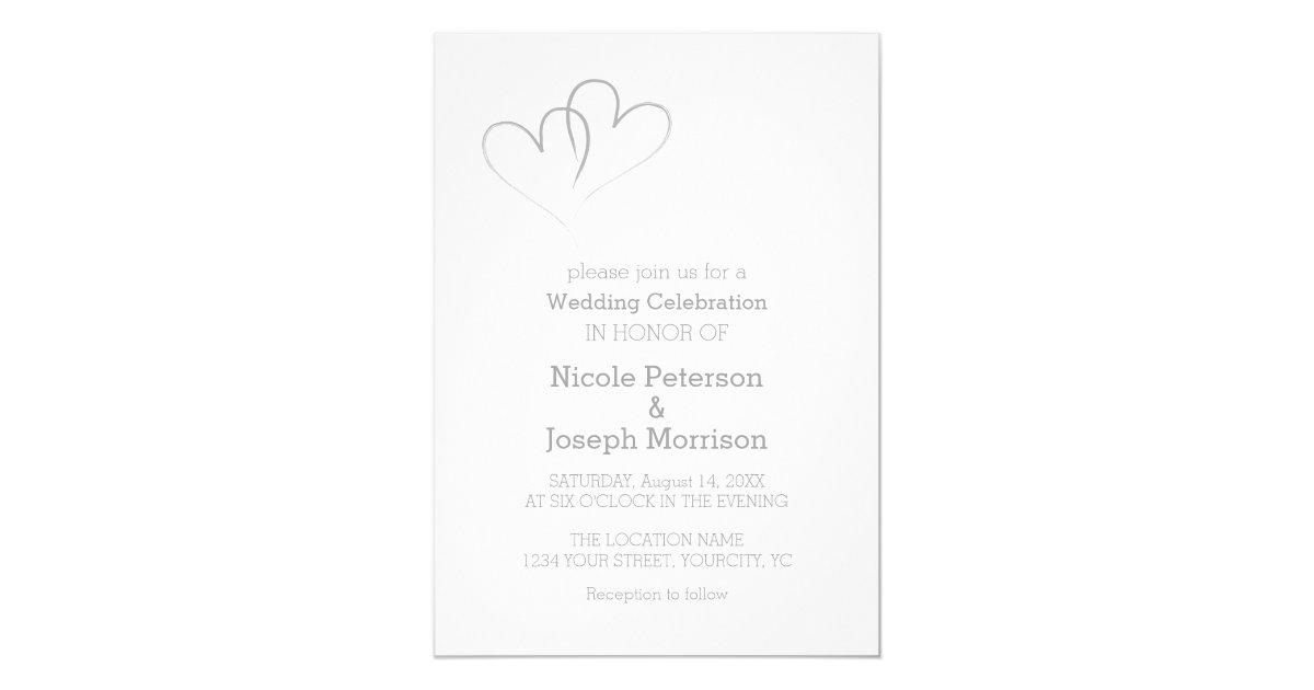 Two Silver Hearts intertwined Invitation | Zazzle.com