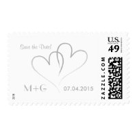Two Silver Hearts intertwined. Save the Date! Postage