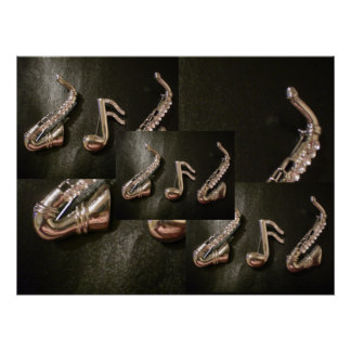Two Silver Saxophones with a musical note Poster