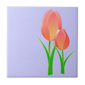 Two Simple Tulips Ceramic Tile