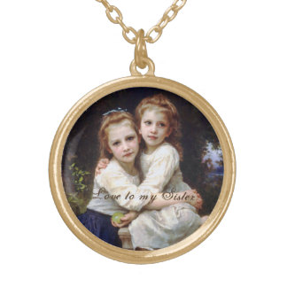 Two Sisters Birthday Round Pendant Necklace