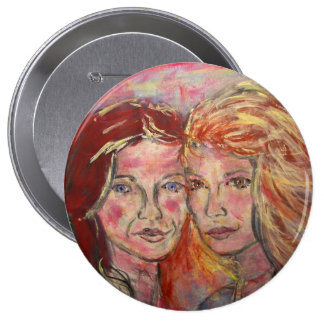 two sisters 4 inch round button