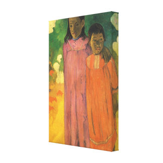 Two Sisters by Gauguin, Vintage Impressionism Art Stretched Canvas Prints