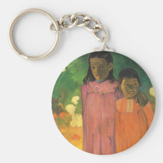 Two Sisters by Gauguin, Vintage Impressionism Art Key Chain