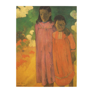 Two Sisters by Gauguin, Vintage Impressionism Art Wood Prints