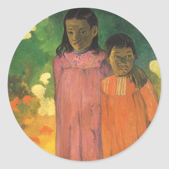 Two Sisters by Paul Gauguin, Vintage Impressionism Classic Round Sticker