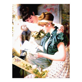 Two Sisters Friends Reading Letter painting Letterhead