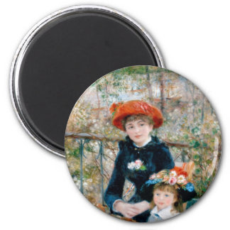 Two Sisters on Terrace by Renoir. Fine art print. 2 Inch Round Magnet