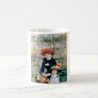 Two Sisters on Terrace by Renoir. Fine art print. Classic White Coffee Mug