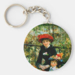 Two Sisters (On the Terrace) by Pierre Renoir Basic Round Button Keychain