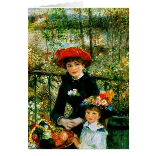 Two Sisters (On the Terrace) by Pierre Renoir Cards