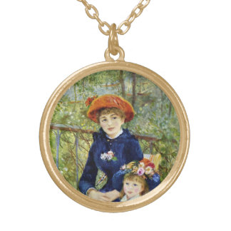 Two Sisters (On the Terrace) By Pierre Renoir Gold Plated Necklace