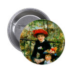 Two Sisters On the Terrace by Renoir 2 Inch Round Button