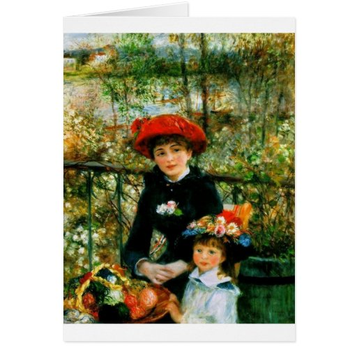 Two Sisters On the Terrace by Renoir Greeting Card