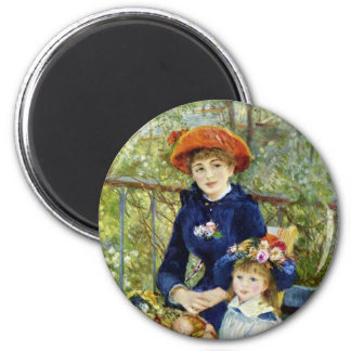 Two Sisters (On the Terrace) By Renoir 2 Inch Round Magnet