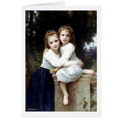 Two sisters painting by William-Adolphe Bouguereau Card