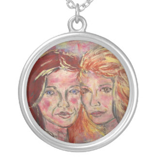 two sisters silver plated necklace