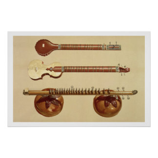 Two sitars and a rudra vina, Indian, from 'Musical Poster