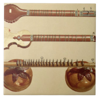Two sitars and a rudra vina, Indian, from 'Musical Tile