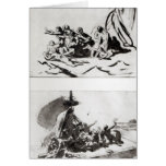 Two sketches for The Raft of the Medusa, c.1819 Greeting Card