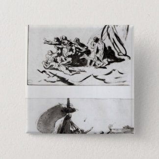 Two sketches for The Raft of the Medusa, c.1819 Pinback Button