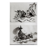 Two sketches for The Raft of the Medusa, c.1819 Posters