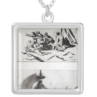 Two sketches for The Raft of the Medusa, c.1819 Silver Plated Necklace