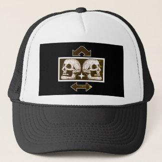 Two Skulls -Back To Back Black & White Arrows Fade Trucker Hat