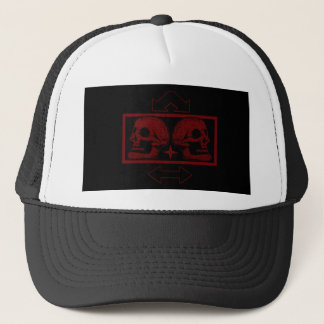 Two Skulls -Back To Back Dark Red -Arrows Trucker Hat