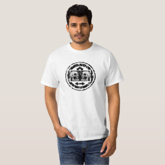 Two Skulls - Black & White Arrows -Distressed Logo T-Shirt