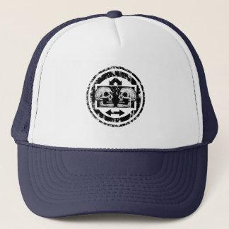 Two Skulls - Black & White Arrows -Distressed Logo Trucker Hat