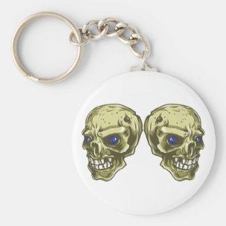 Two skulls heads two skulls keychain