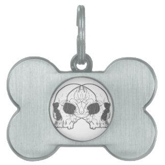 Two Skulls Pet Name Tag