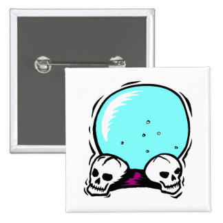 two skulls scrying ball graphic pinback buttons