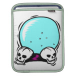 two skulls scrying ball graphic iPad sleeves