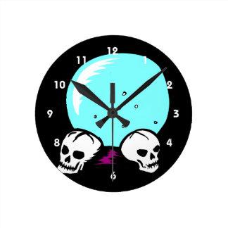 two skulls scrying ball graphic round wallclock