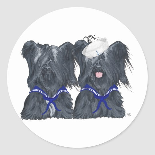 Two Skye Terrier Sailors Classic Round Sticker