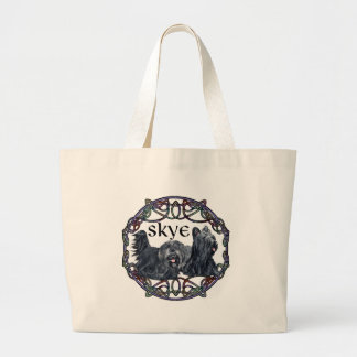 Two Skye Terriers in Celtic Circle Large Tote Bag