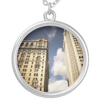 Two Skyscrapers in the Financial District, NYC Silver Plated Necklace